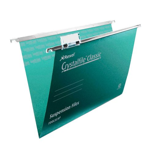 Rexel Crystalfile Classic FS Susp File Base 15mm Green PK50