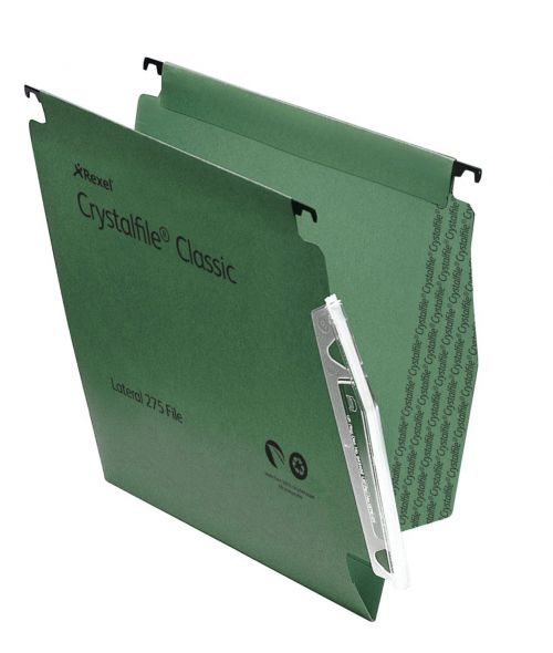 Rexel Crystalfile Classic Linking Lateral File Manilla 15mm V-base Green 230gsm A4 Ref 78652 [Pack 50]