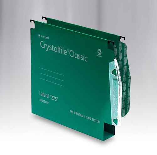 Rexel Crystalfile Classic Linking Lateral File Manilla 30mm Wide-base Green 230gsm A4 Ref 78654 [Pack 50]