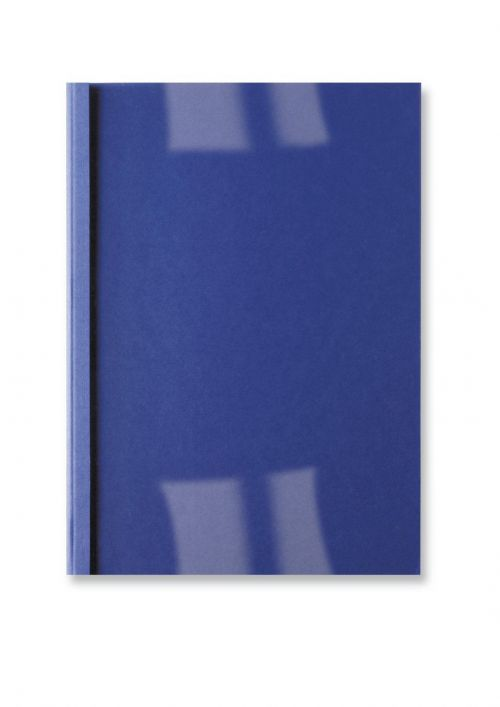 GBC Thermal Binding Covers 1.5mm Front PVC Clear Back Leathergrain A4 Royal Blue Ref IB451003 [Pack 100]