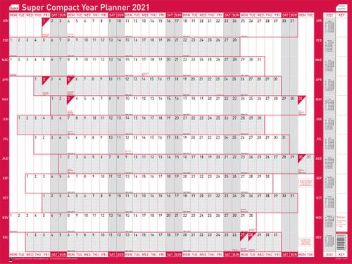 Sasco Unmounted Super Compact Year Planner 2021 BX10