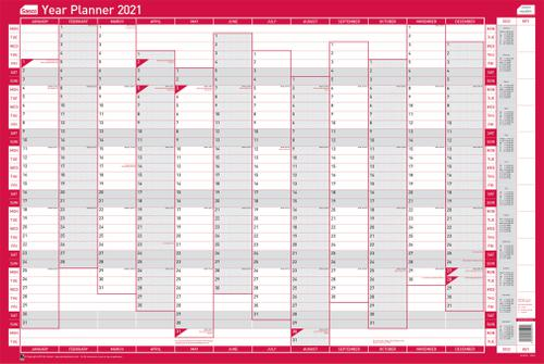 Sasco Horizontal Year Planner Unmounted 2021 2410131