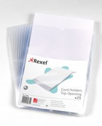 REXEL CARD HOLDER OPEN TOP A4 CLEAR PK25