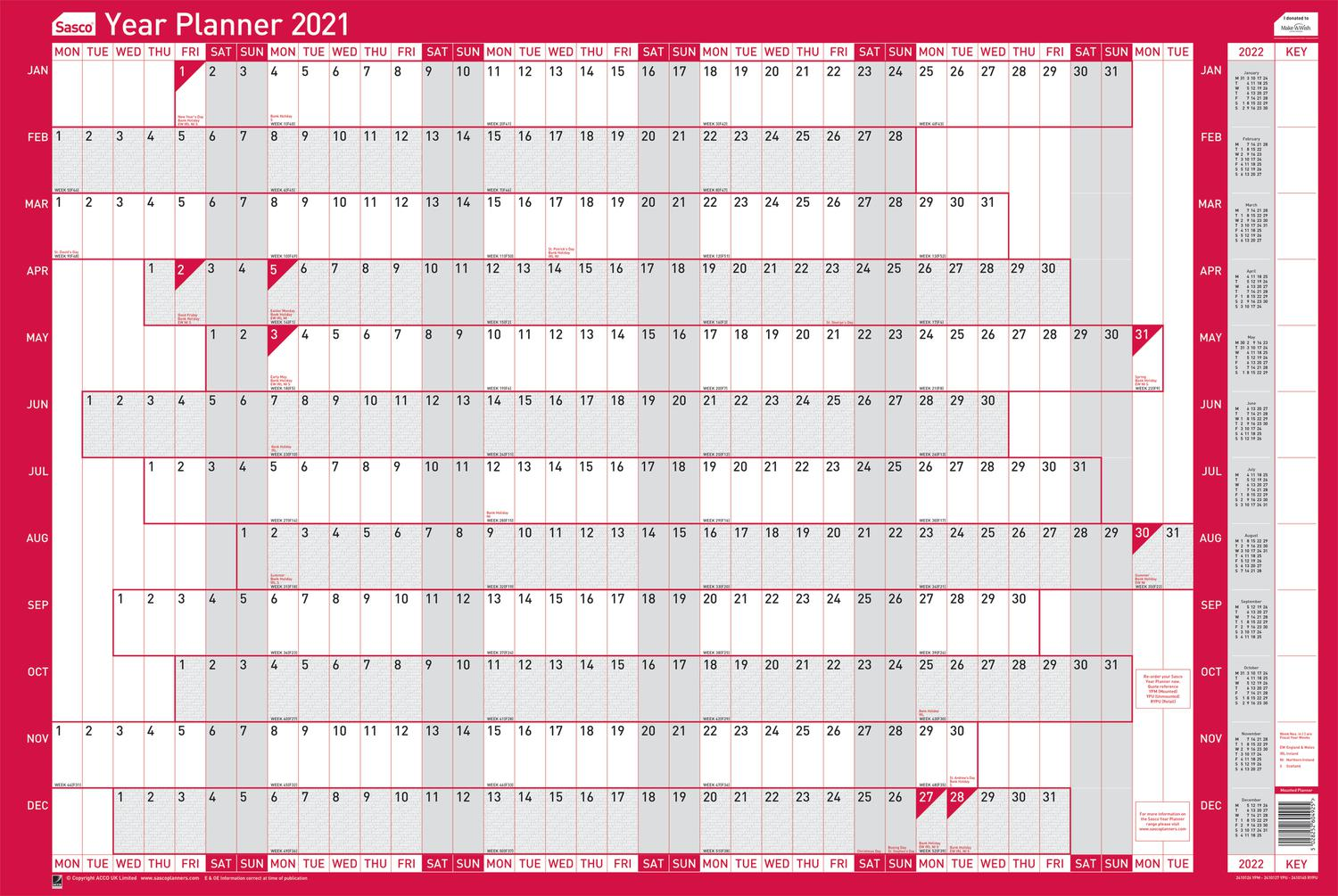 Planners Sasco Year Planner Mounted 2021 (Pack 10)