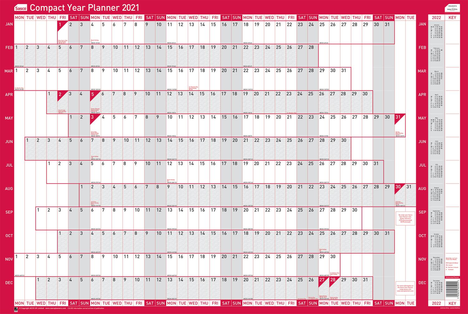 Planners Sasco Unmounted Compact Year Planner Landscape 2021 BX10