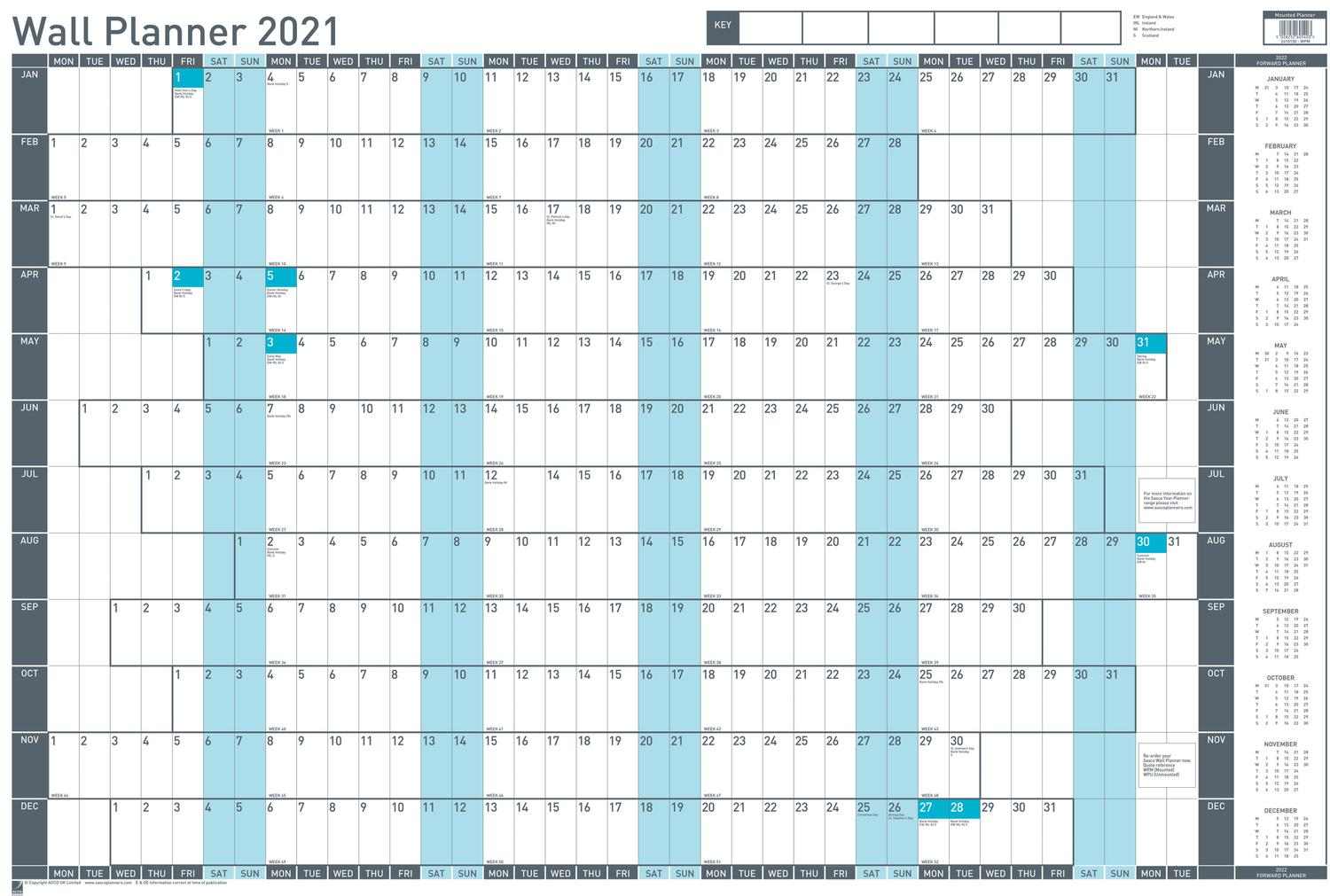 Planners Sasco Mounted Wall Planner 2021 BX10