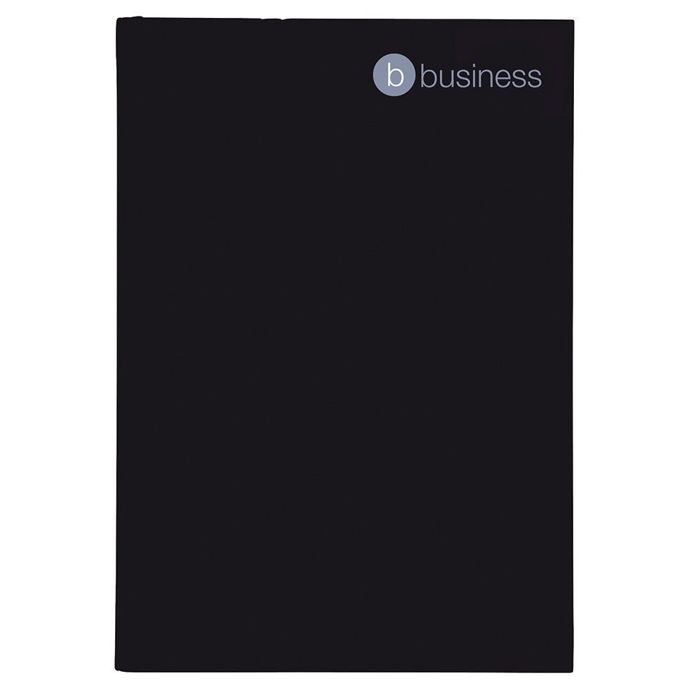 Business Notebook Casebound 75gsm Ruled 160pp A4 Black [Pack 5]