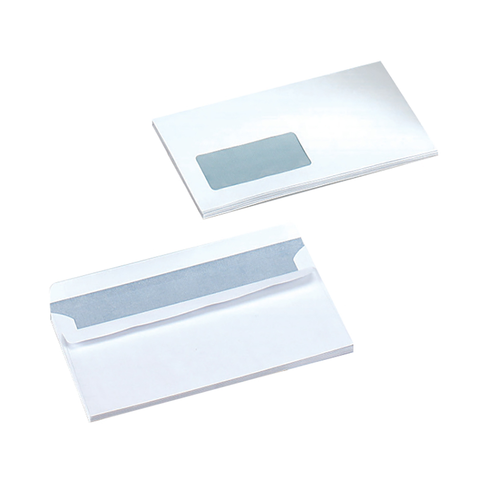 Business PEFC Wallet Self Seal Window 80gsm DL 220x110mm White [Pack 1000]