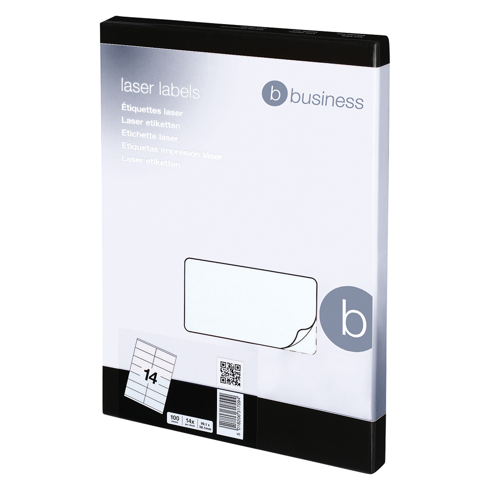 Business Multipurpose Labels Laser Copier Inkjet 14 per Sheet 99.1x38.1mm White [1400 Labels]