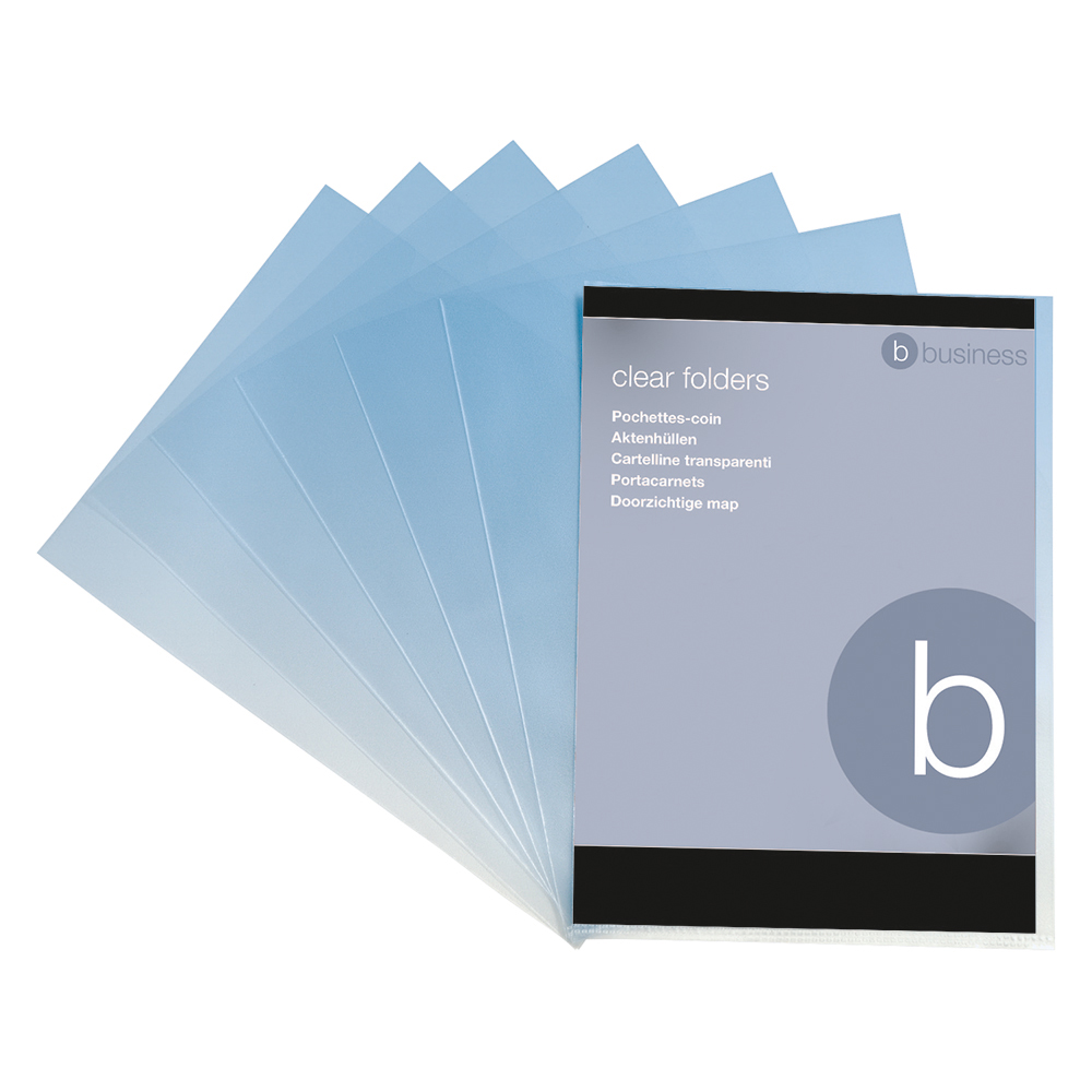 Business Folder Cut Flush Polypropylene Copy-safe 90 Micron A4 Clear [Pack 100]