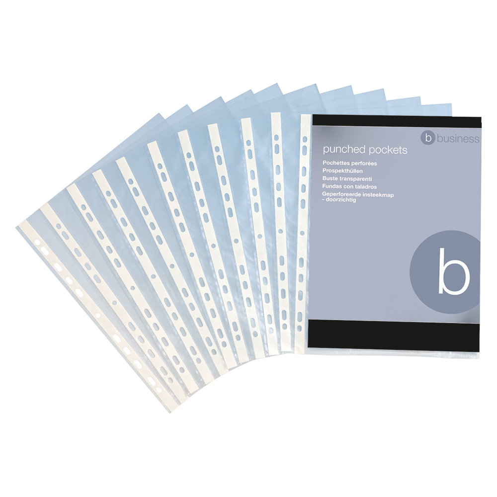 Business Punched Pocket Polypropylene Top-opening 40 Micron A4 Glass Clear [Pack 100]