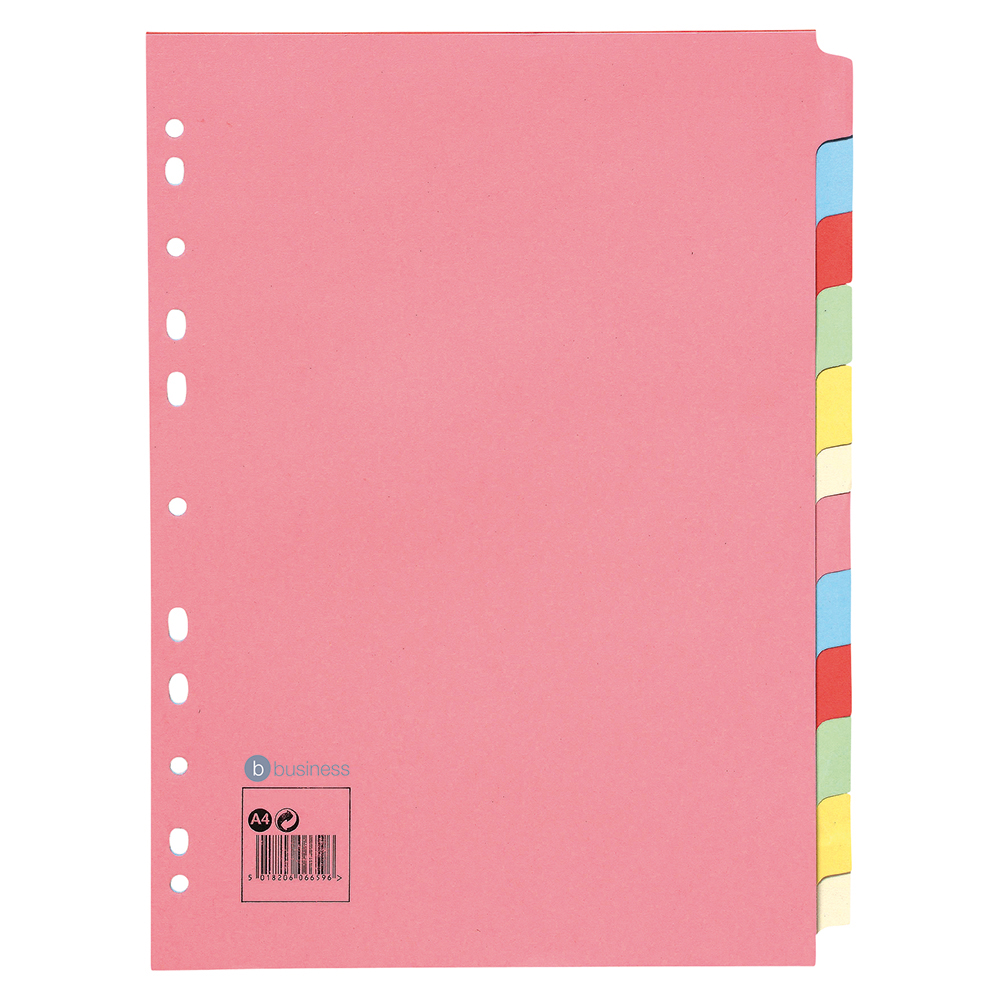 Business Subject Dividers 12-Part Recycled Card Multipunched 155gsm A4 Assorted