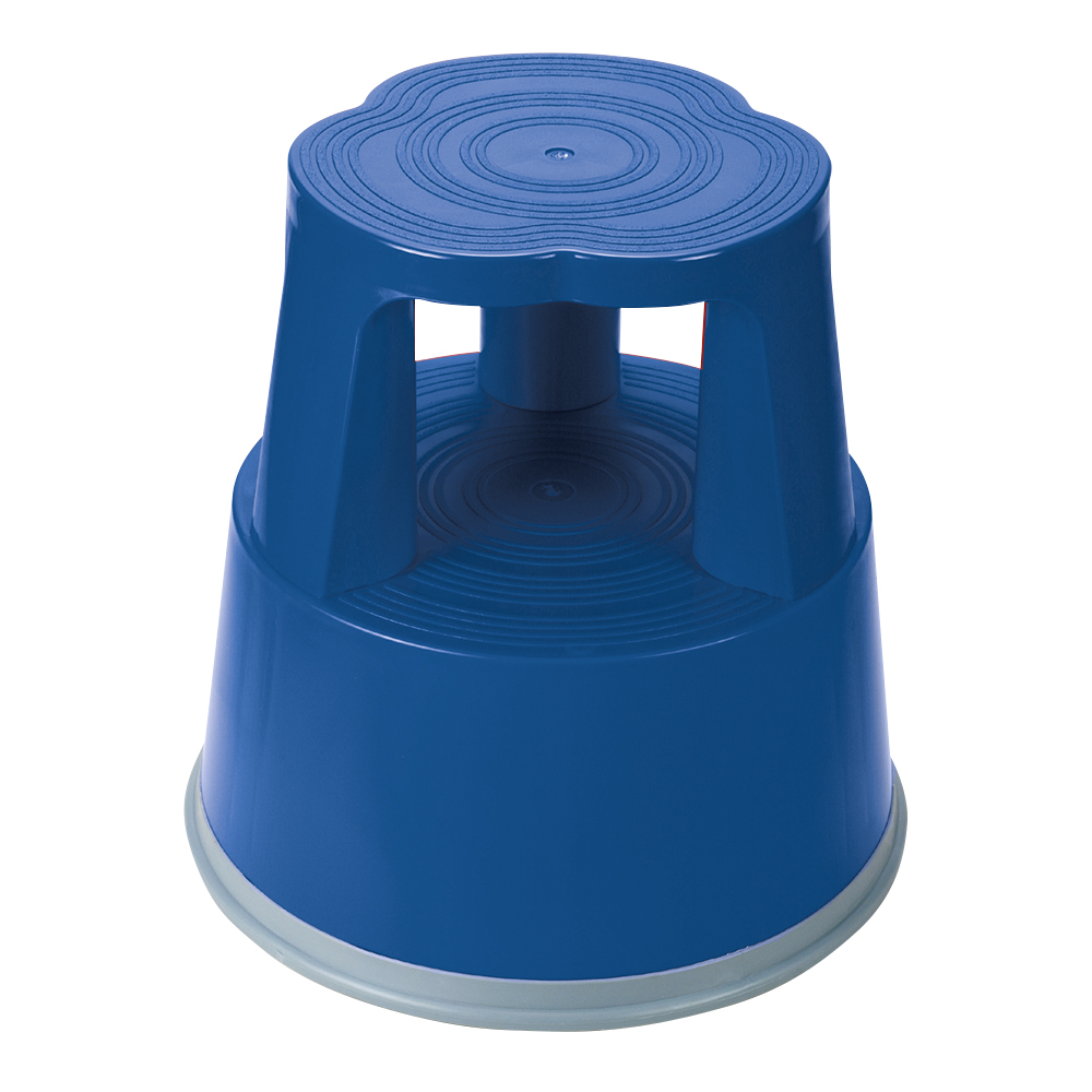 Business Step Stool Mobile Plastic Lightweight Strong Top D290xH430xBaseD400mm 2.8kg Blue
