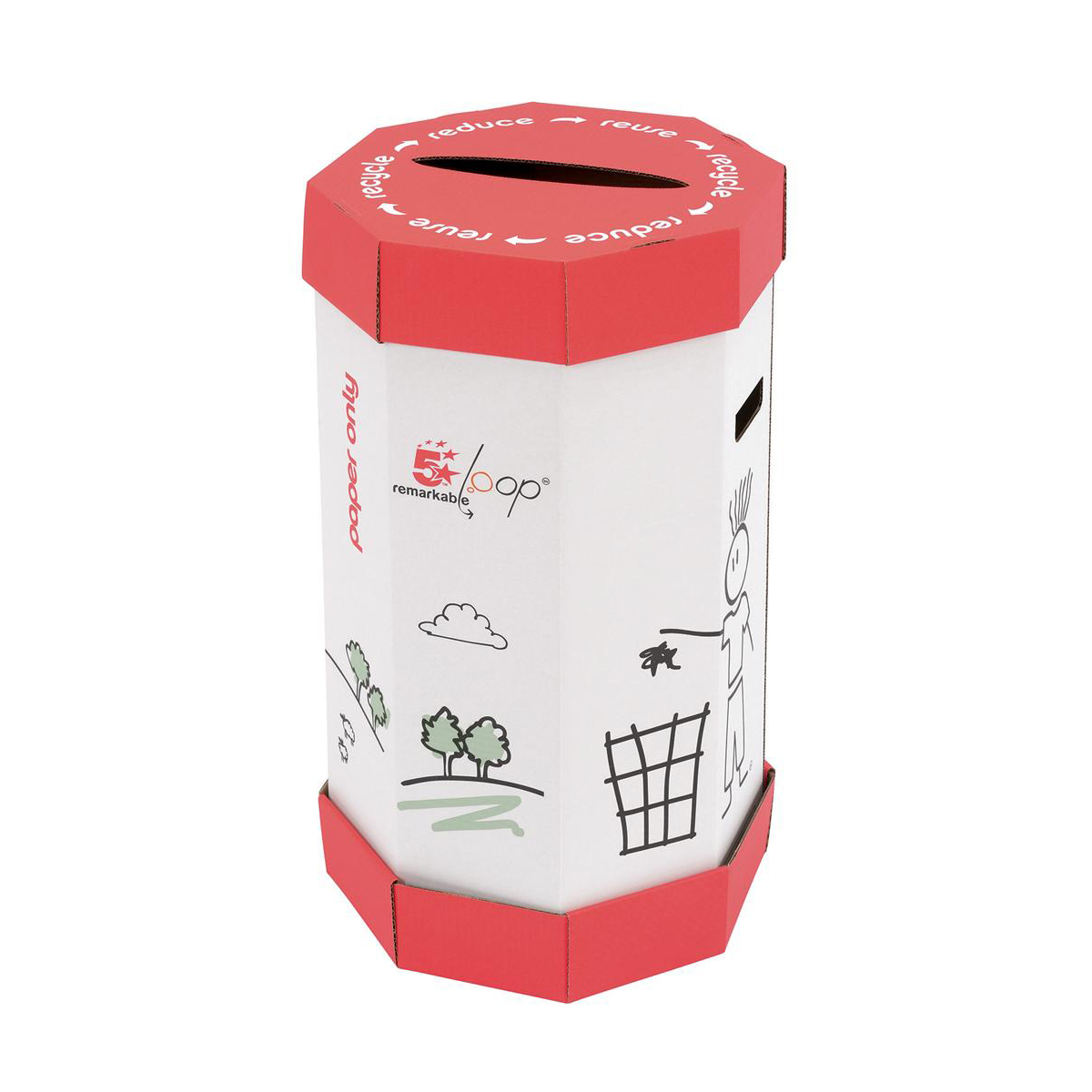 Business Remarkable Loop Paper Recycling Office Waste Bin 60 Litres [Pack 5]