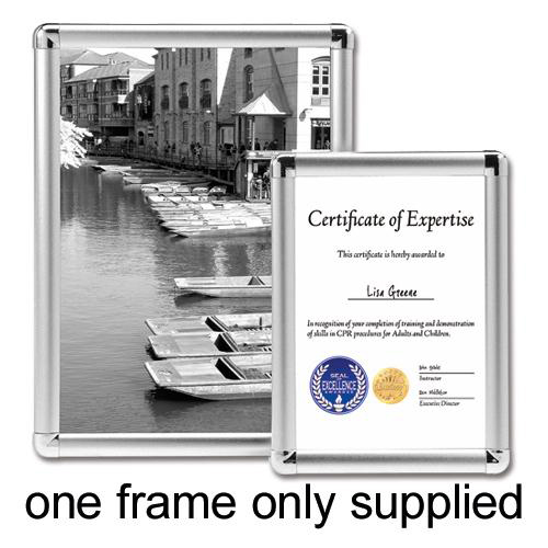 Business Clip Display Frame Aluminium with Fixings Front-loading A4 210x13�297mm Silver