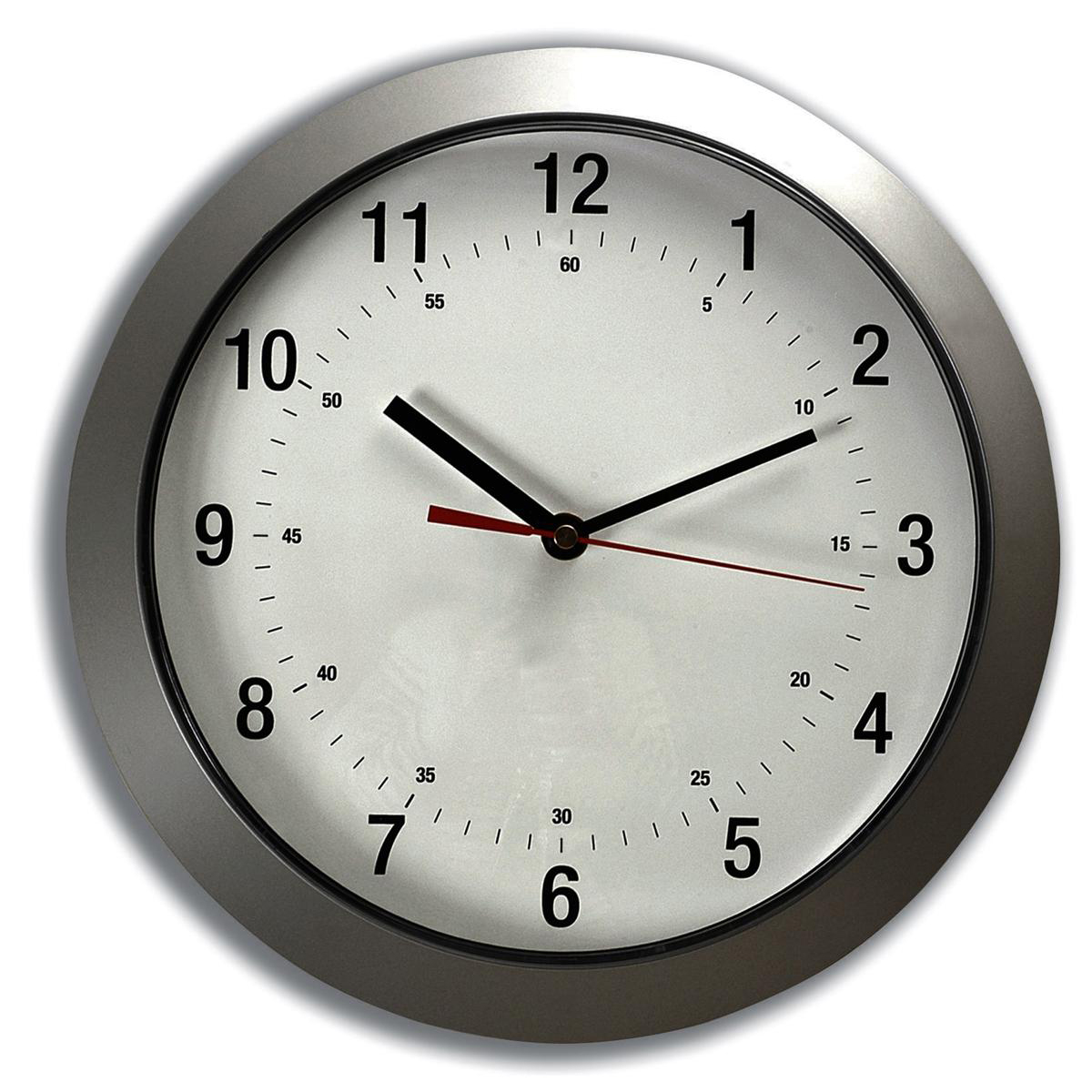Business Wall Clock with Coloured Case Diameter 300mm Silver