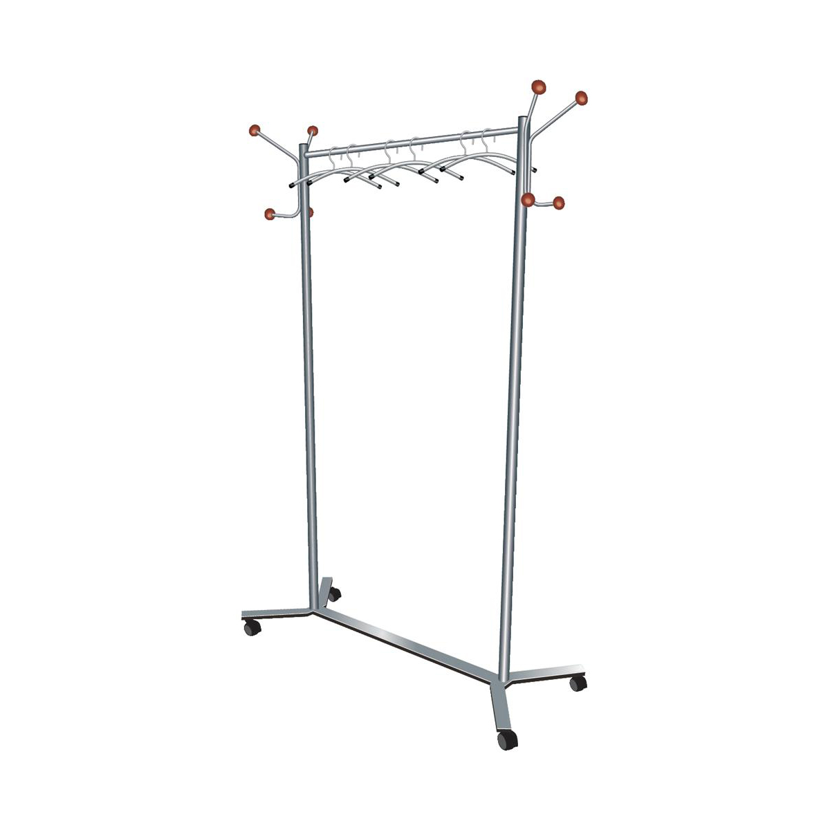 Business Coat Rack Mobile 4 Wheels 4 Pegs 4 Hooks Capacity of 36 Hangers 1175x440x1740mm Silver