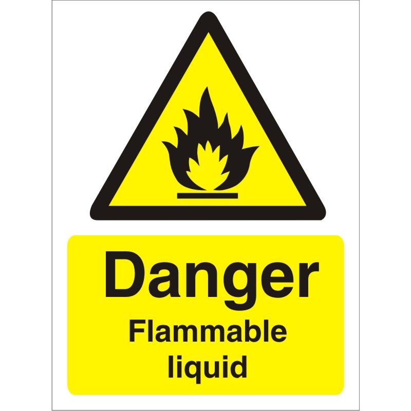 Warning Sign 300x400 1mm Plastic Danger Flammable Liquid Ref