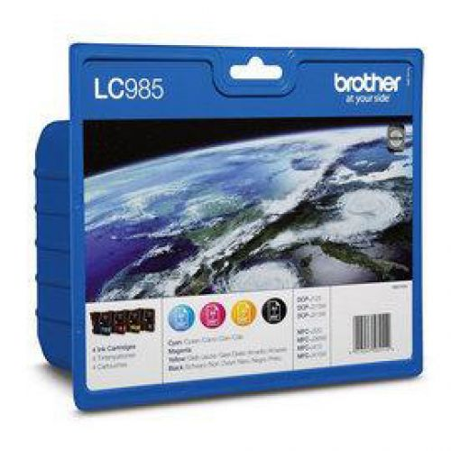 Brother Inkjet Cartridge Value Pack Page Life 1080pp Black/Cyan/Magenta/Yellow Ref LC985VALBP [Pack 4]