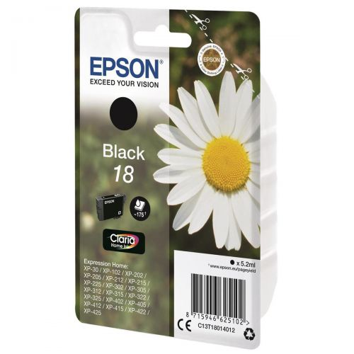 Epson 18 Inkjet Cartridge Daisy Capacity 5.2ml 175pp Black Ref C13T18014012