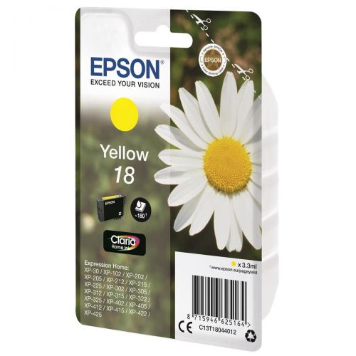Epson 18 Inkjet Cartridge Daisy Capacity 3.3ml 180pp Yellow Ref C13T18044012