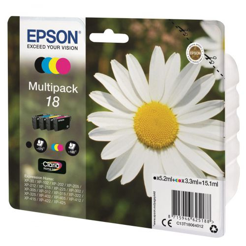 Epson 18 Inkjet Cartridges Capacity 15.1ml Total C/M/Y/K Ref C13T18064012 [Pack 4]