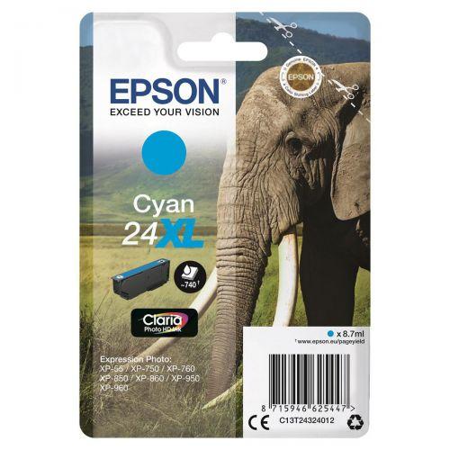Epson 24XL Inkjet Cartridge Capacity 8.7ml Page Life 740pp Cyan Ref C13T24324012