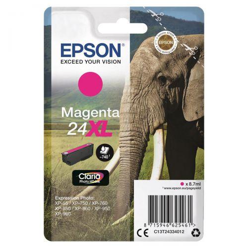 Epson 24XL Inkjet Cartridge Capacity 8.7ml Page Life 740pp Magenta Ref C13T24334012