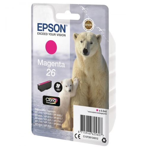 Epson T2613 26 Inkjet Cartridge Polar Bear Capacity 4.5ml 300pp Magenta Ref C13T26134012