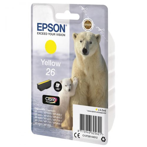 Epson 26 Inkjet Cartridge Polar Bear Capacity 4.5ml 300pp Yellow Ref C13T26144012