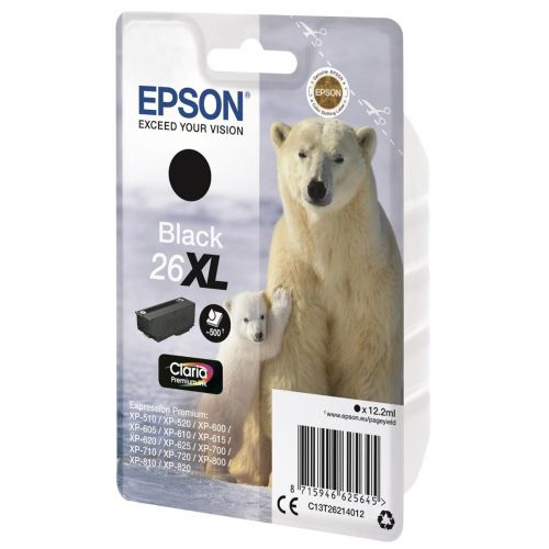 Epson 26XL Inkjet Cartridge Polar Bear Capacity 12.2ml 500pp Black Ref C13T26214012