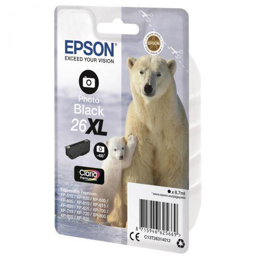 Epson 26XL Inkjet Cartridge Polar Bear Capacity 8.7ml 400pp Photo Black Ref C13T26314012