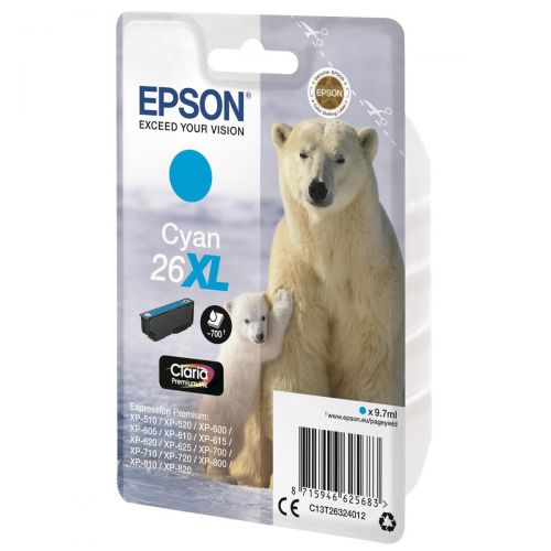 Epson 26XL Inkjet Cartridge Polar Bear Capacity 9.7ml 700pp Cyan Ref C13T26324012