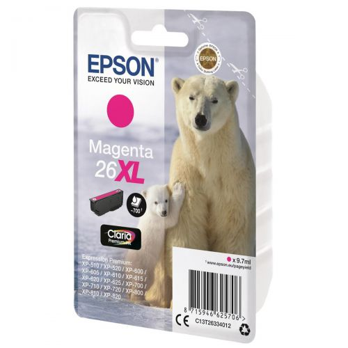 Epson 26XL Inkjet Cartridge Polar Bear Capacity 9.7ml 700pp Magenta Ref C13T26334012