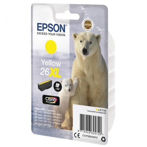 Epson 26XL Inkjet Cartridge Polar Bear Capacity 9.7ml 700pp Yellow Ref C13T26344012