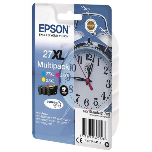 Epson 27XL Inkjet Cartridge Alarm Clock Multipack Cyan/Magenta/Yellow Ref C13T27154012 [Pack 3]