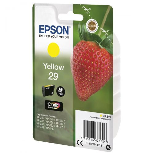 Epson No. 29 InkJet Cartridge 180pp 3.2ml Yellow Ref C13T29844012