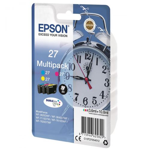 Epson No. 27 InkJet Cartridge 350pp C/M/Y Ref C13T27054012