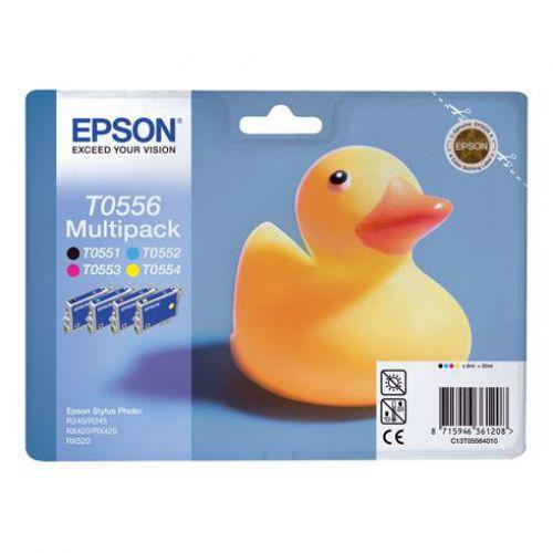 Epson T0556 Inkjet Cartridge Duck Black/Cyan/Magenta/Yellow Ref C13T05564010 [Pack 4]