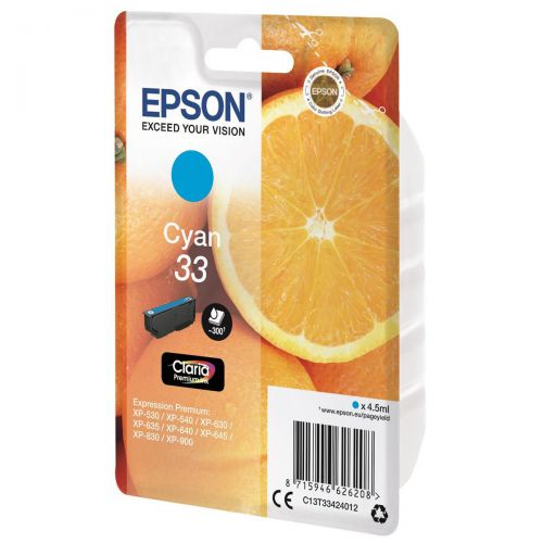 Epson T33 Inkjet Cartridge Capacity 4.5ml Cyan Ref C13T33424012