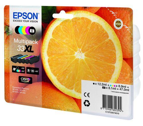 Epson T33XL Inkjet Cartridge Capacity 47.0ml B/C/M/Y/PB Ref T33574010 [Pack 5]