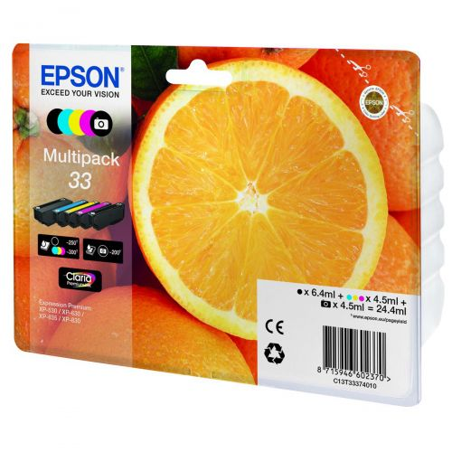 Epson T33 Inkjet Cartridge Capacity 24.4ml B/C/M/Y/PB Ref T33374010 [Pack 5]