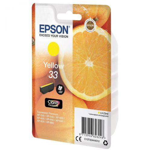 Epson T33 Inkjet Cartridge Capacity 4.5ml Yellow Ref C13T33444012