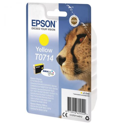 Epson T0714 Inkjet Cartridge DURABrite Cheetah Page Life 460pp Yellow Ref C13T07144012