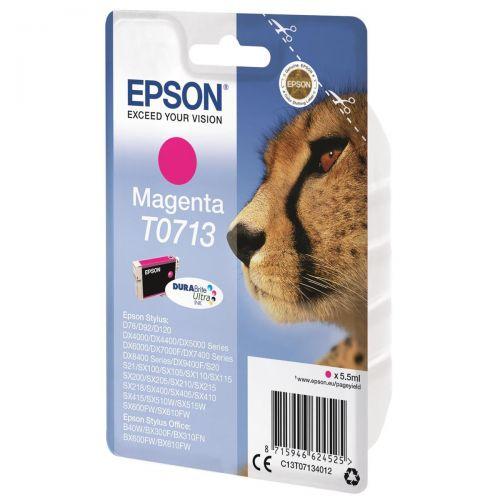 Epson T0713 Inkjet Cartridge DURABrite Cheetah Page Life 280pp Magenta Ref C13T07134012