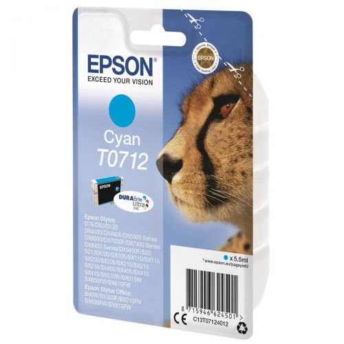 Epson T0712 Inkjet Cartridge DURABrite Cheetah Page Life 475pp Cyan Ref C13T07124012