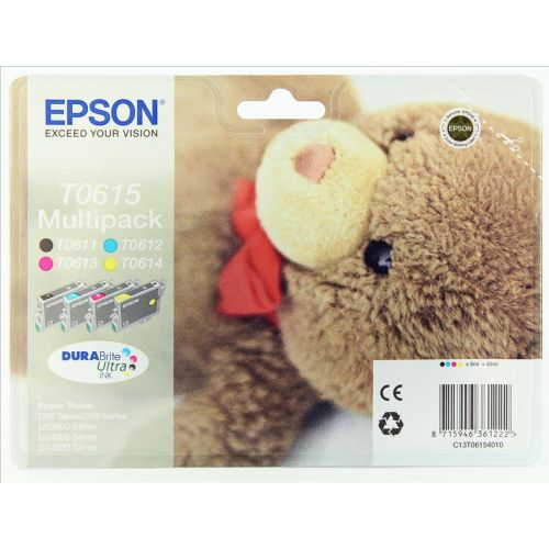Epson T0615 Inkjet Cartridge Teddy Page Life 1000pp Black/Cyan/Magenta/Yellow Ref C13T06154010 [Pack 4]