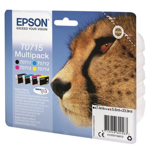 Epson T0715 Inkjet Cartridge DURABrite Cheetah C/M/Y/K Ref C13T07154012 [Pack 4]