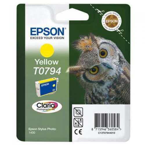 Epson T0794 Inkjet Cartridge Claria Owl 51g Page Life 714-1070pp Yellow Ref C13T079440A0