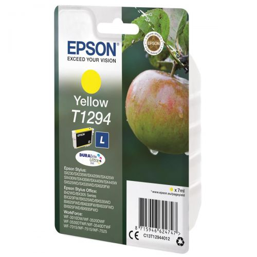 Epson T1294 Inkjet Cartridge DURABrite Apple L Capacity 7ml Yellow Ref C13T12944012